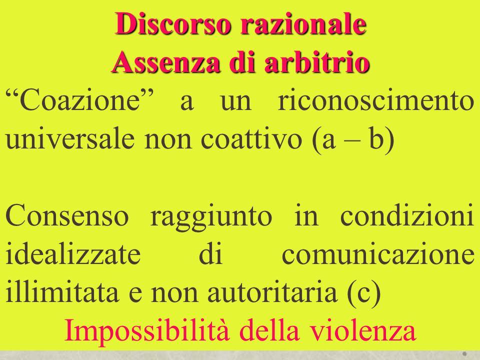 Discorso razionale Assenza di arbitrio Coazione a un riconoscimento universale non coattivo (a – b) Consenso raggiunto in condizioni idealizzate di co