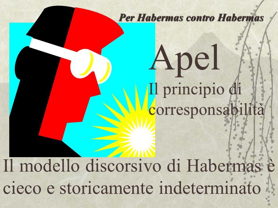 Apel Il principio di corresponsabilità Il modello discorsivo di Habermas è cieco e storicamente indeterminato Per Habermas contro Habermas