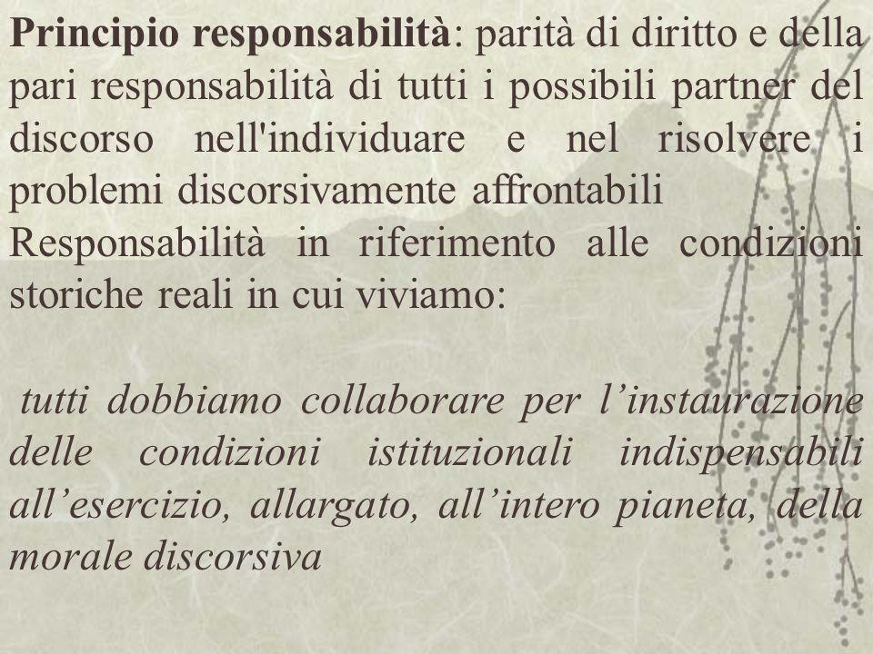 Principio responsabilità: parità di diritto e della pari responsabilità di tutti i possibili partner del discorso nell'individuare e nel risolvere i p