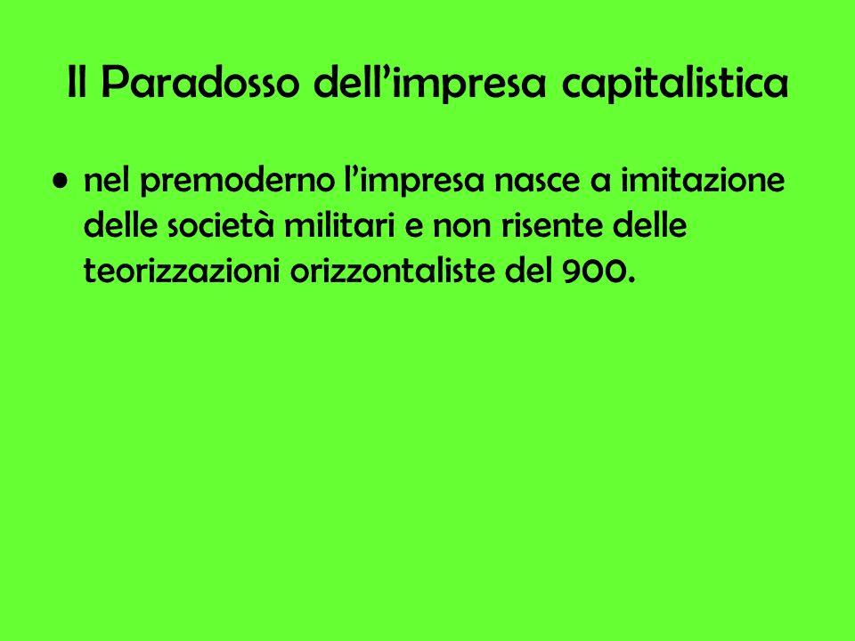 Il Paradosso dellimpresa capitalistica nel premoderno limpresa nasce a imitazione delle società militari e non risente delle teorizzazioni orizzontaliste del 900.