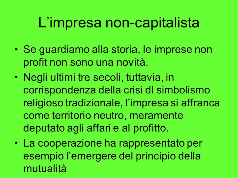 Limpresa non-capitalista Se guardiamo alla storia, le imprese non profit non sono una novità.