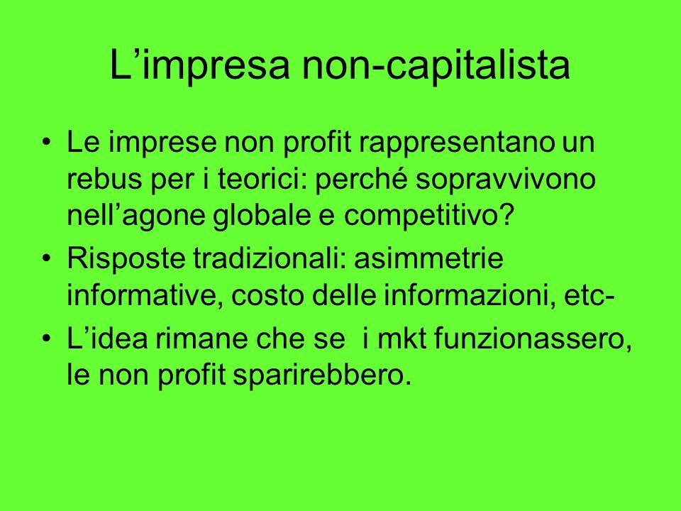 Limpresa non-capitalista Le imprese non profit rappresentano un rebus per i teorici: perché sopravvivono nellagone globale e competitivo.