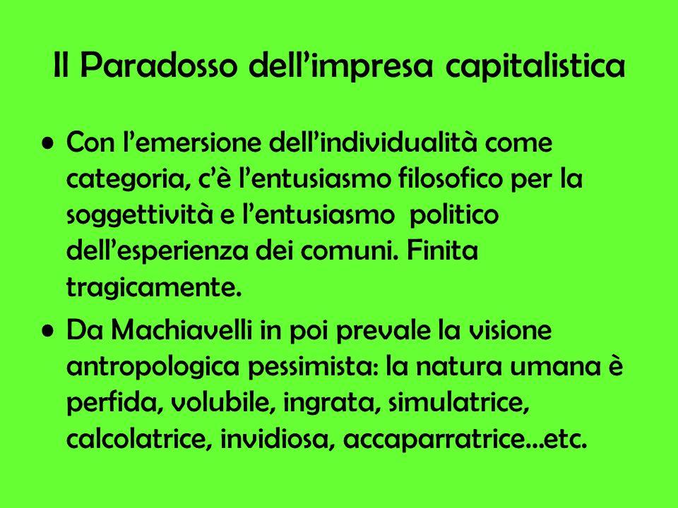 Il Paradosso dellimpresa capitalistica Con lemersione dellindividualità come categoria, cè lentusiasmo filosofico per la soggettività e lentusiasmo politico dellesperienza dei comuni.