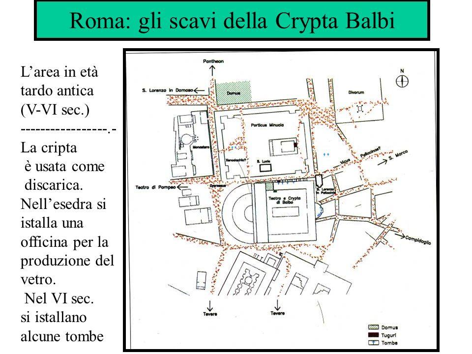 Roma: gli scavi della Crypta Balbi Larea in età tardo antica (V-VI sec.) -----------------.- La cripta è usata come discarica. Nellesedra si istalla u