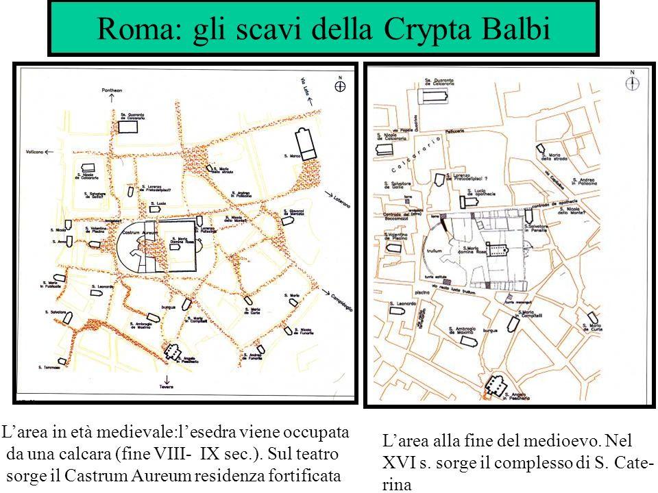 Roma: gli scavi della Crypta Balbi Larea in età medievale:lesedra viene occupata da una calcara (fine VIII- IX sec.). Sul teatro sorge il Castrum Aure