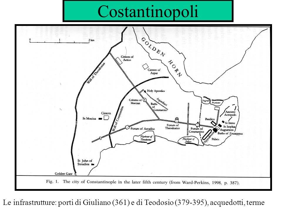 Costantinopoli Le infrastrutture: porti di Giuliano (361) e di Teodosio (379-395), acquedotti, terme
