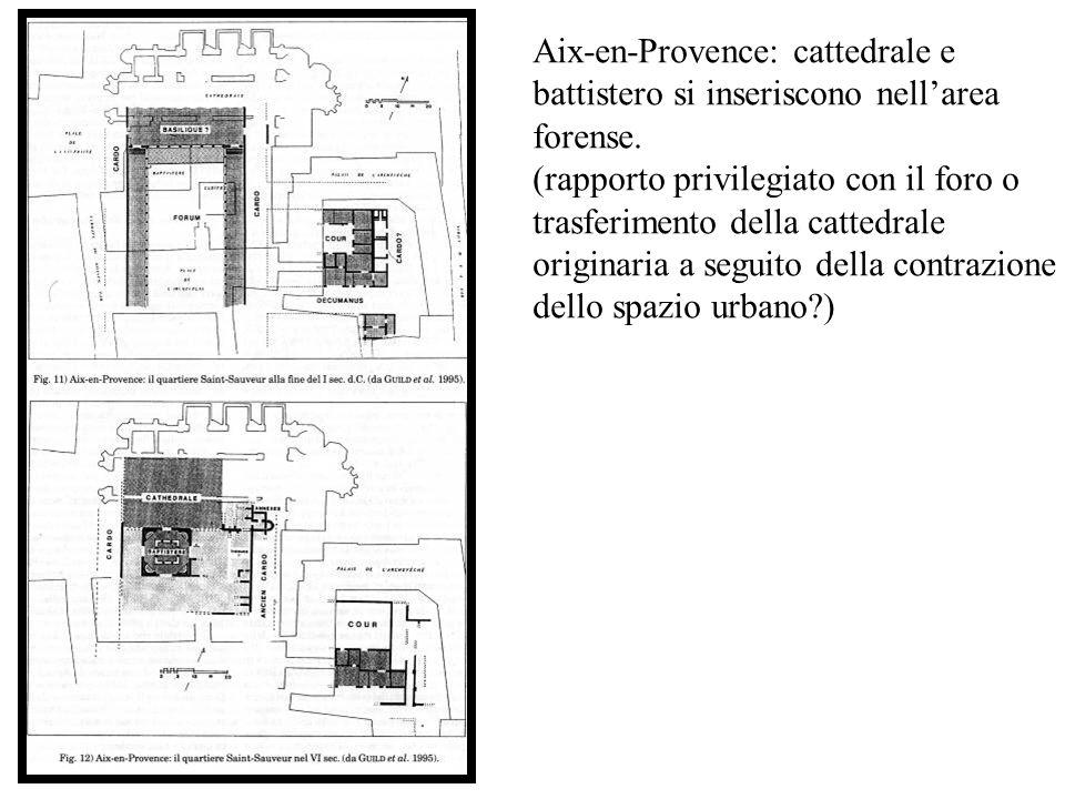 Aix-en-Provence: cattedrale e battistero si inseriscono nellarea forense. (rapporto privilegiato con il foro o trasferimento della cattedrale originar