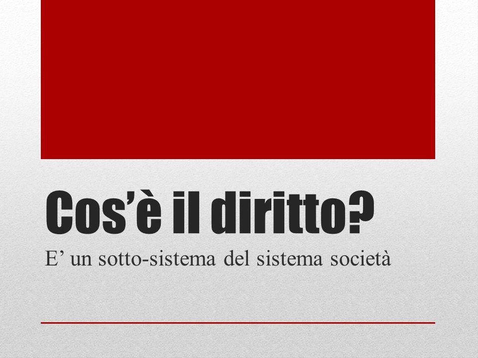 Cosè il diritto? E un sotto-sistema del sistema società