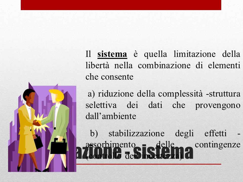 Informazione - sistema Il sistema è quella limitazione della libertà nella combinazione di elementi che consente a) riduzione della complessità -strut