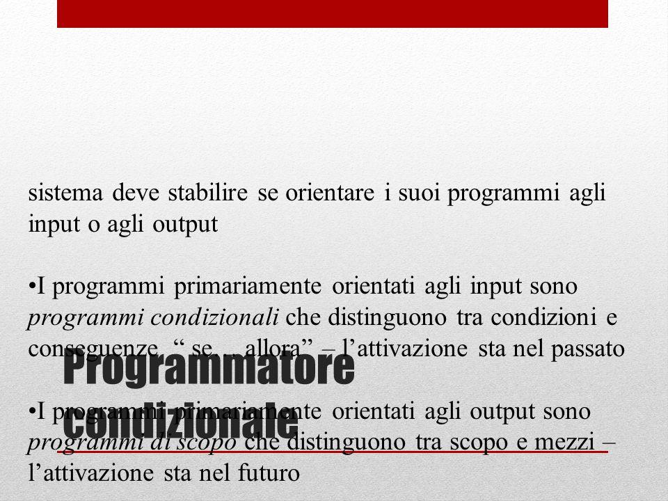 sistema deve stabilire se orientare i suoi programmi agli input o agli output I programmi primariamente orientati agli input sono programmi condiziona