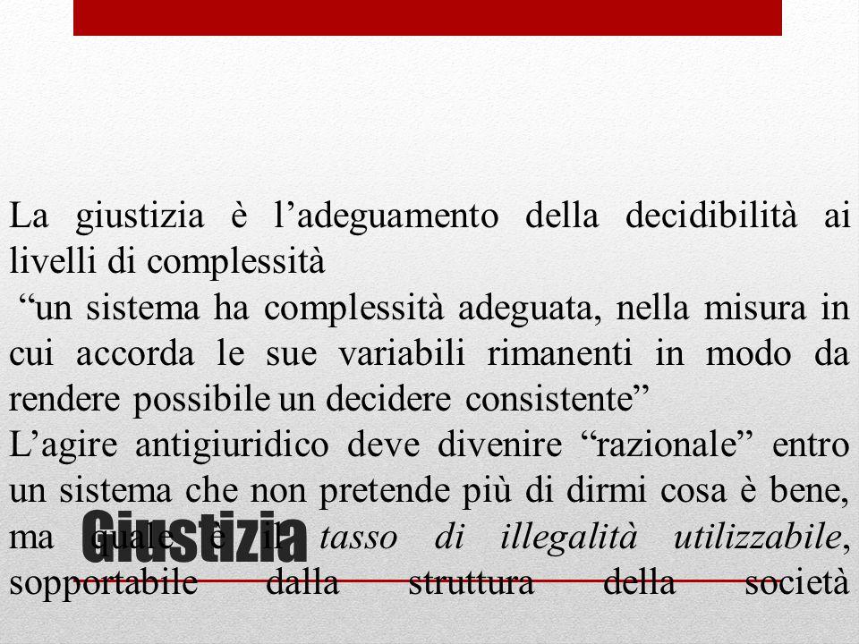 Giustizia La giustizia è ladeguamento della decidibilità ai livelli di complessità un sistema ha complessità adeguata, nella misura in cui accorda le