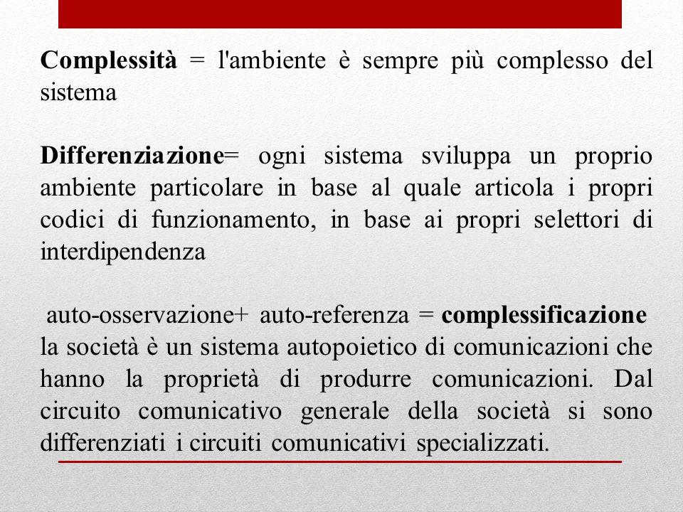 Complessità = l'ambiente è sempre più complesso del sistema Differenziazione= ogni sistema sviluppa un proprio ambiente particolare in base al quale a