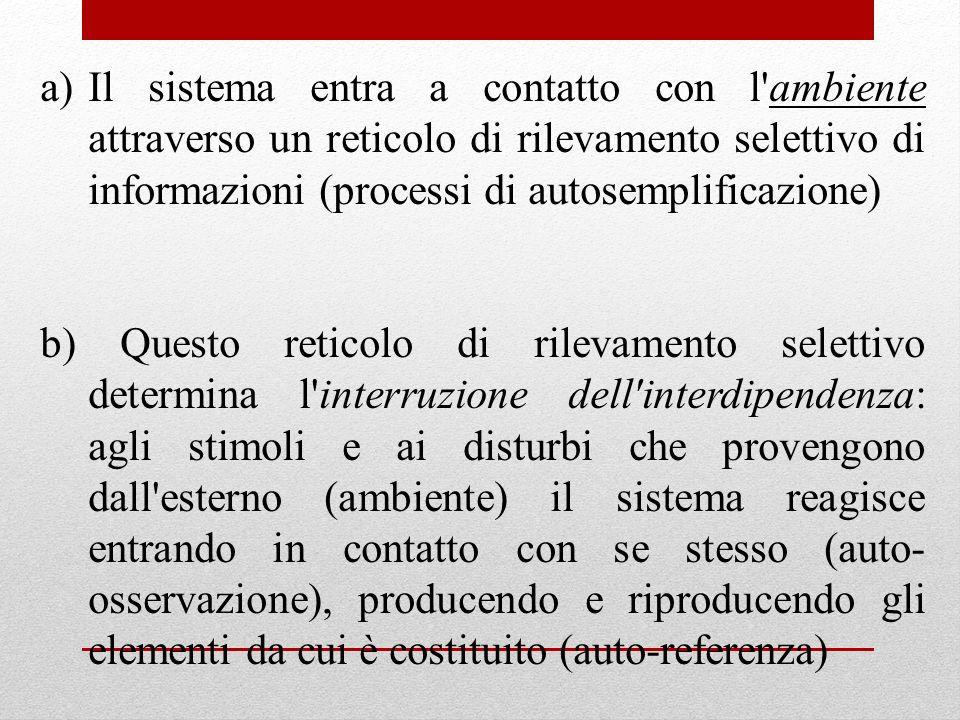 a)Il sistema entra a contatto con l'ambiente attraverso un reticolo di rilevamento selettivo di informazioni (processi di autosemplificazione) b) Ques