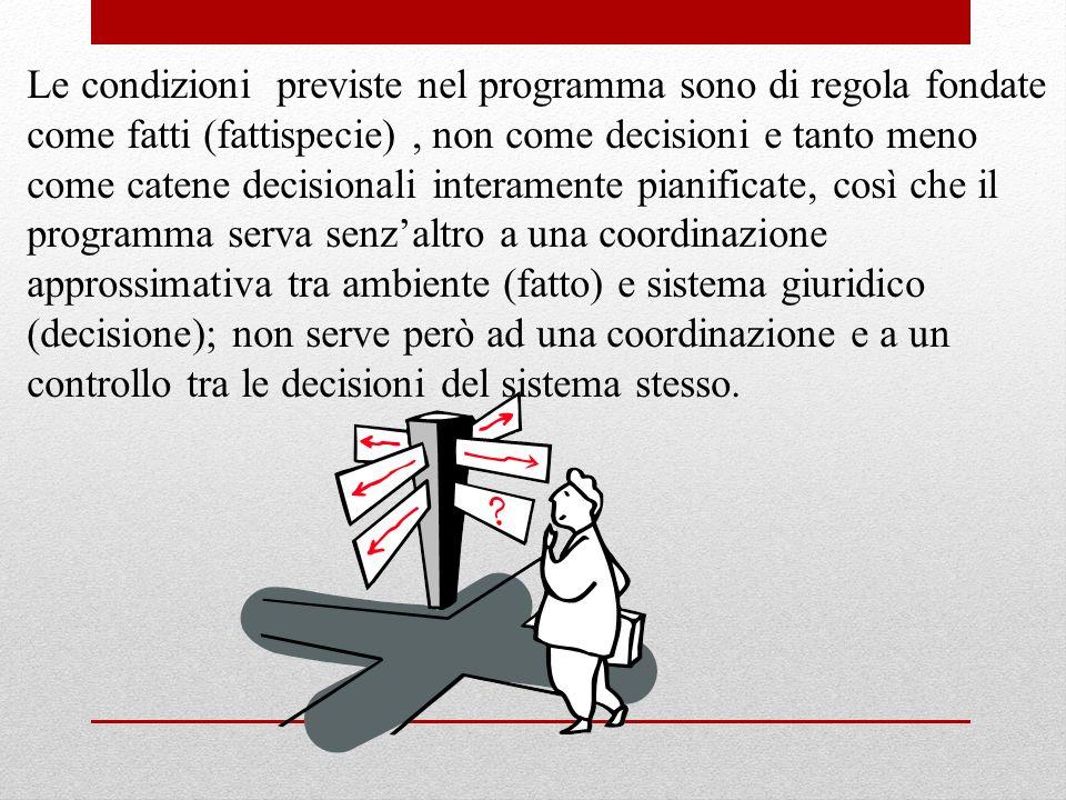 Le condizioni previste nel programma sono di regola fondate come fatti (fattispecie), non come decisioni e tanto meno come catene decisionali interame