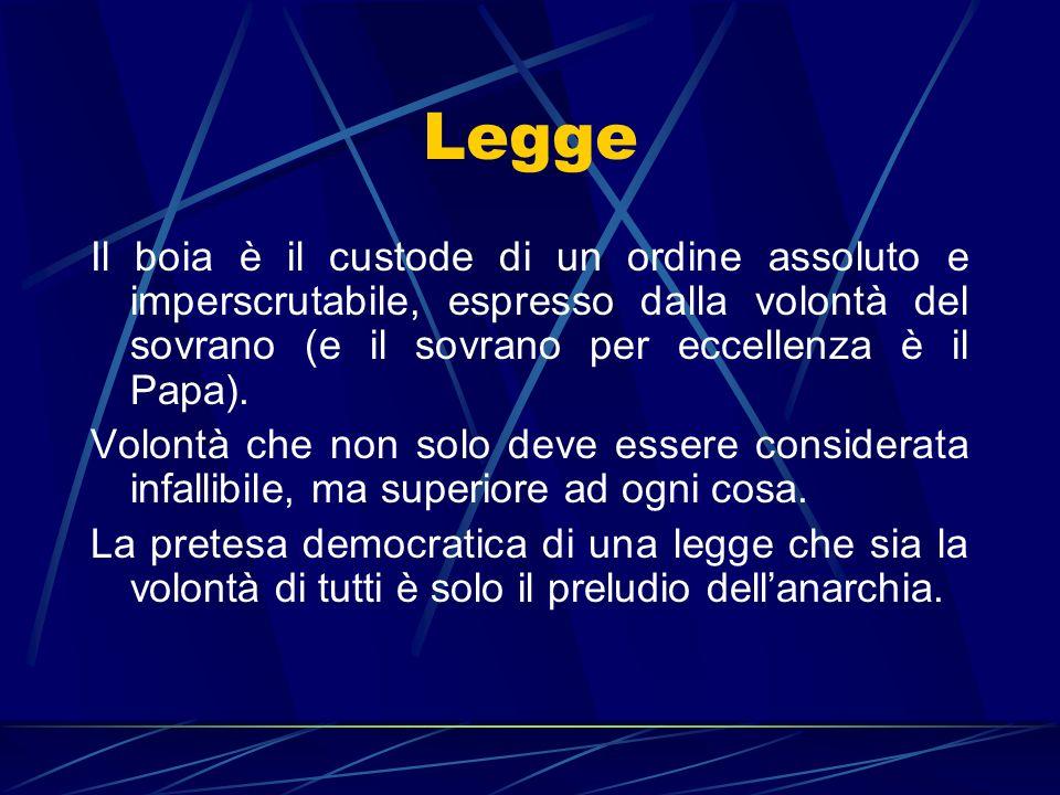 Legge Il boia è il custode di un ordine assoluto e imperscrutabile, espresso dalla volontà del sovrano (e il sovrano per eccellenza è il Papa). Volont