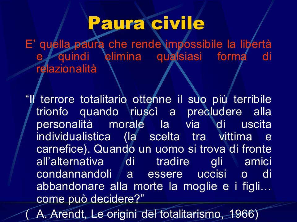 Paura civile E quella paura che rende impossibile la libertà e quindi elimina qualsiasi forma di relazionalità Il terrore totalitario ottenne il suo p