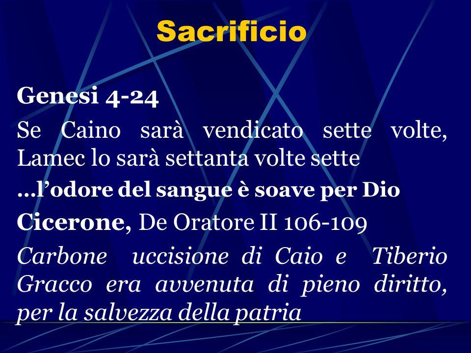 Sacrificio Genesi 4-24 Se Caino sarà vendicato sette volte, Lamec lo sarà settanta volte sette …lodore del sangue è soave per Dio Cicerone, De Oratore