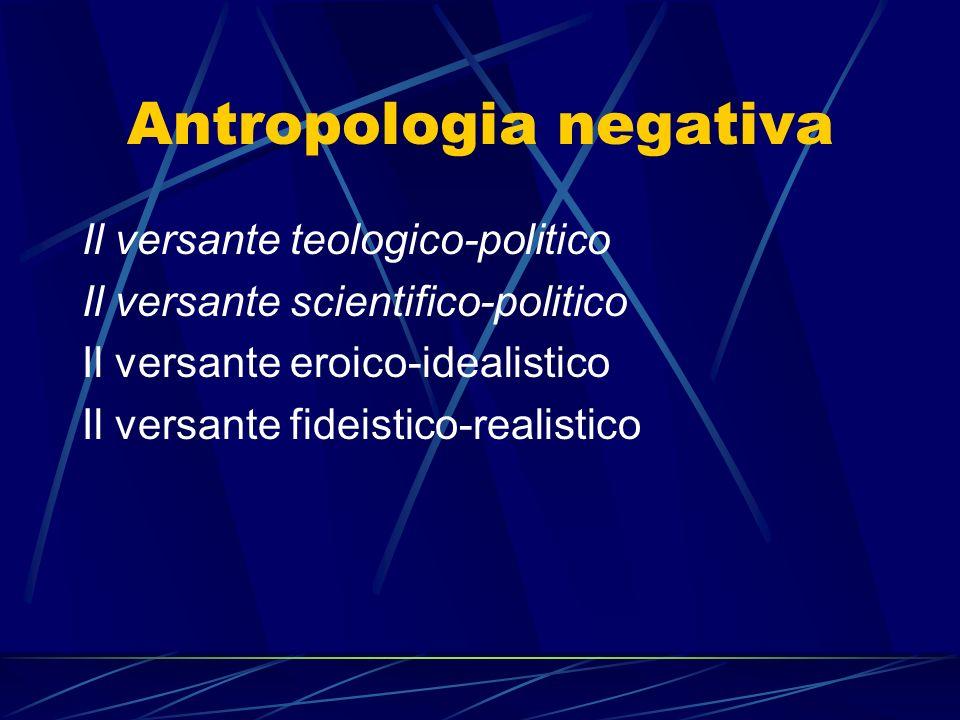 Antropologia negativa Il versante teologico-politico Il versante scientifico-politico Il versante eroico-idealistico Il versante fideistico-realistico