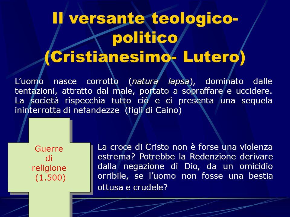 Il versante teologico- politico (Cristianesimo- Lutero) natura lapsa Luomo nasce corrotto (natura lapsa), dominato dalle tentazioni, attratto dal male