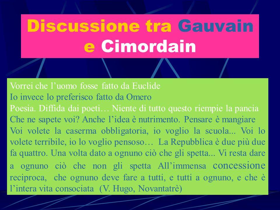 Discussione tra Gauvain e Cimordain Vorrei che luomo fosse fatto da Euclide Io invece lo preferisco fatto da Omero Poesia. Diffida dai poeti… Niente d
