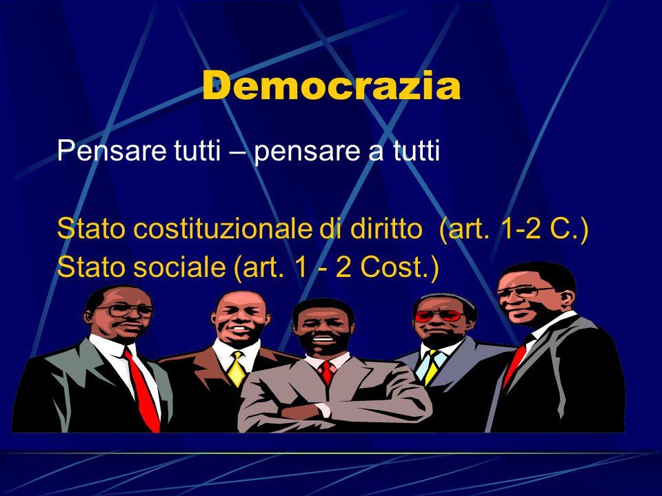 Democrazia Pensare tutti – pensare a tutti Stato costituzionale di diritto (art. 1-2 C.) Stato sociale (art. 1 - 2 Cost.)