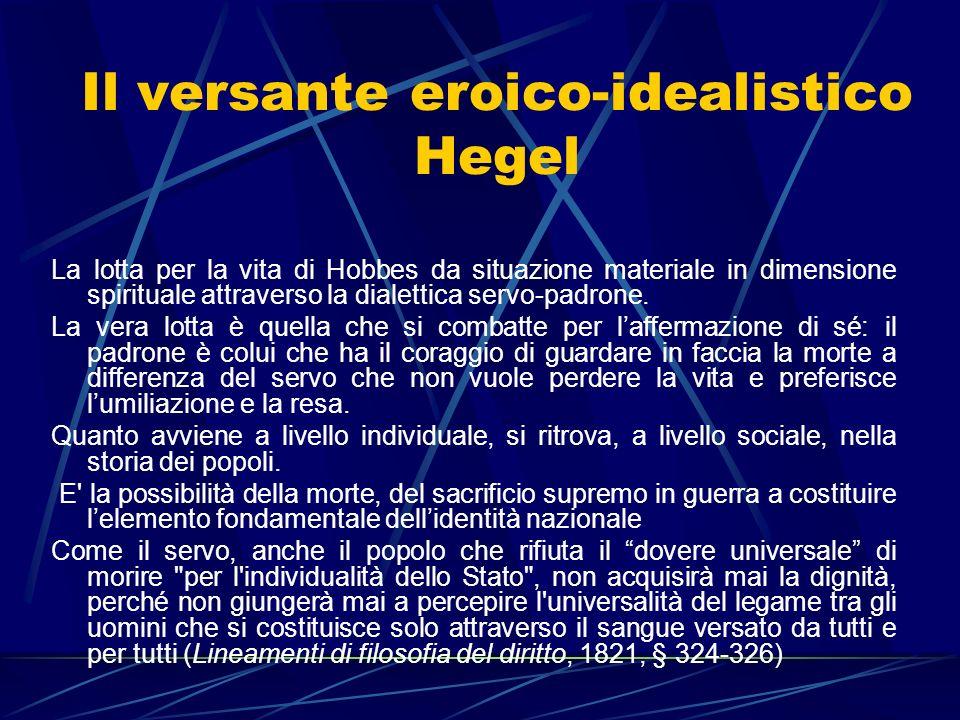 Il versante eroico-idealistico Hegel La lotta per la vita di Hobbes da situazione materiale in dimensione spirituale attraverso la dialettica servo-pa