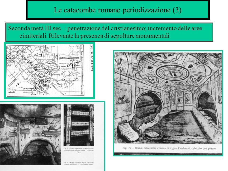 Le catacombe romane: periodizzazione(4) IV sec.:costruzione delle basiliche martiriali e dei ricchi mausolei.