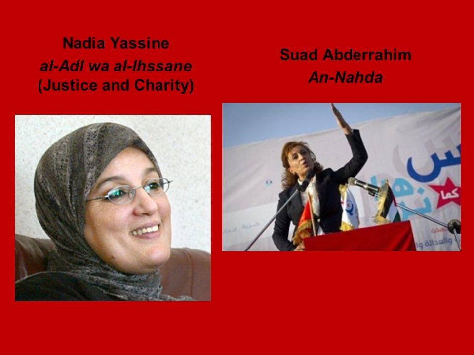 Nadia Yassine al-Adl wa al-Ihssane (Justice and Charity) Suad Abderrahim An-Nahda