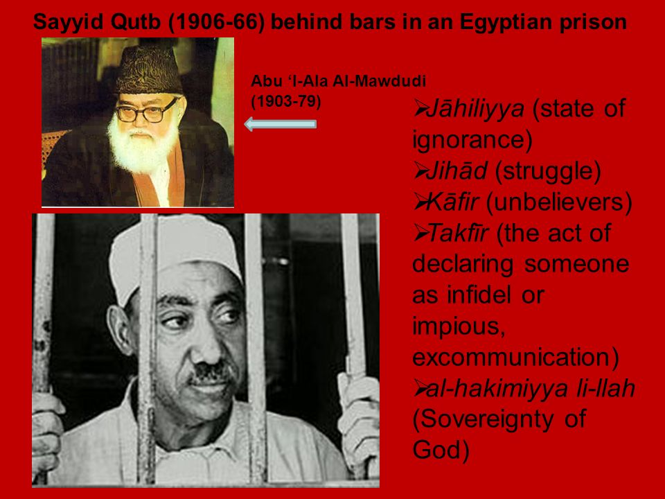 Sayyid Qutb (1906-66) behind bars in an Egyptian prison Jāhiliyya (state of ignorance) Jihād (struggle) Kāfir (unbelievers) Takfīr (the act of declaring someone as infidel or impious, excommunication) al-hakimiyya li-llah (Sovereignty of God) Abu l-Ala Al-Mawdudi (1903-79)