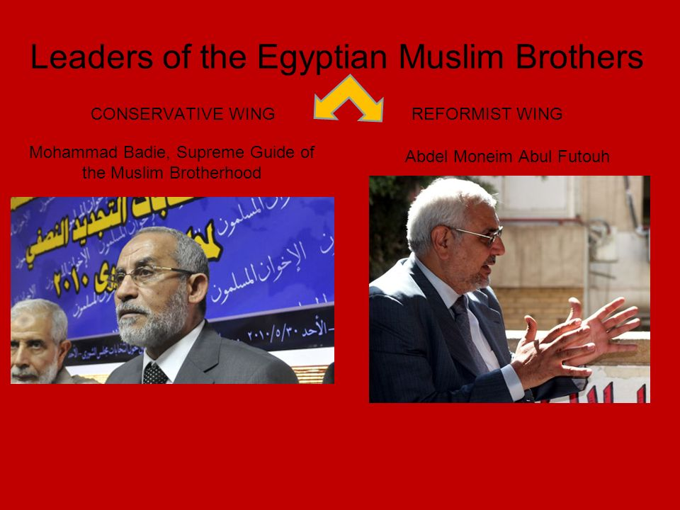 Mohammad Badie, Supreme Guide of the Muslim Brotherhood Abdel Moneim Abul Futouh Leaders of the Egyptian Muslim Brothers CONSERVATIVE WINGREFORMIST WING