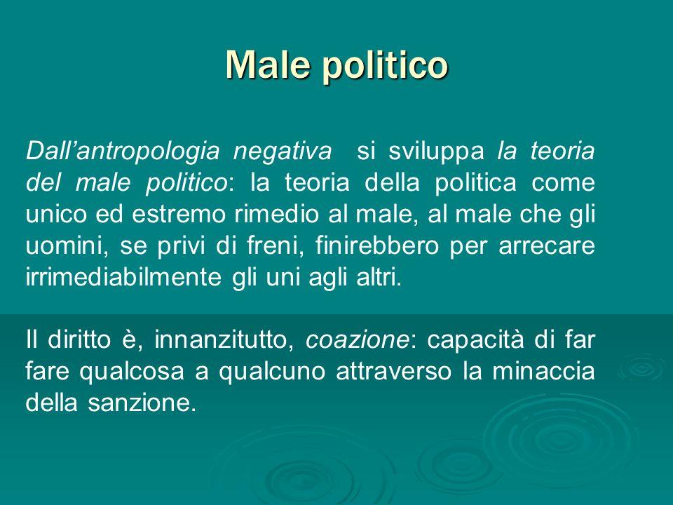 Male politico Dallantropologia negativa si sviluppa la teoria del male politico: la teoria della politica come unico ed estremo rimedio al male, al ma
