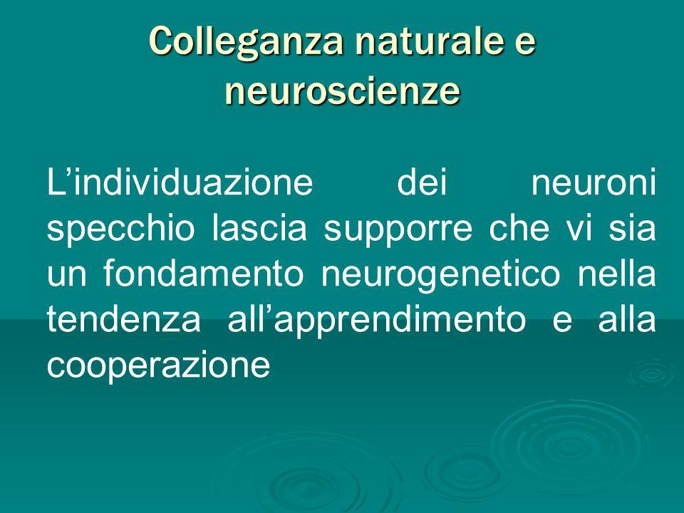 Colleganza naturale e neuroscienze Lindividuazione dei neuroni specchio lascia supporre che vi sia un fondamento neurogenetico nella tendenza allappre
