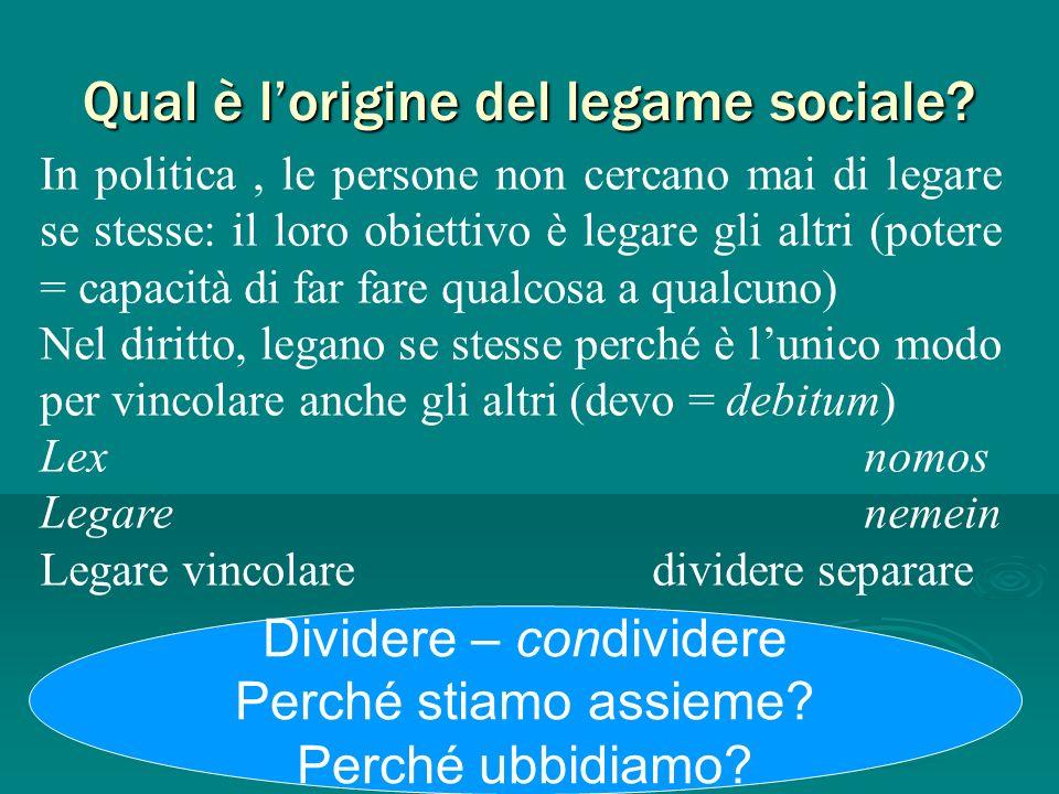 Qual è lorigine del legame sociale? In politica, le persone non cercano mai di legare se stesse: il loro obiettivo è legare gli altri (potere = capaci