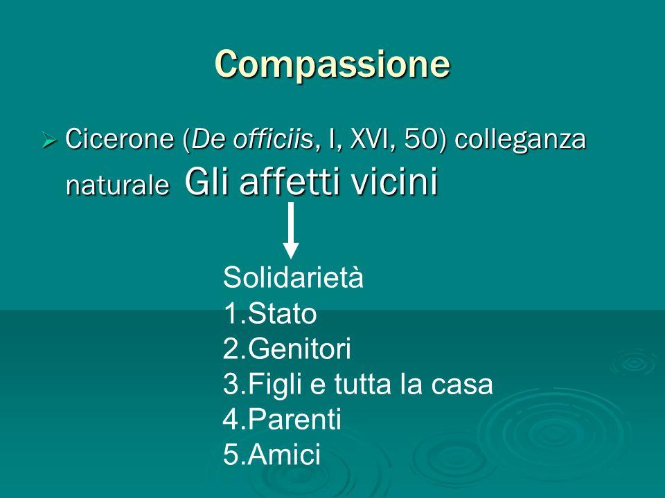 Compassione Cicerone (De officiis, I, XVI, 50) colleganza naturale Gli affetti vicini Cicerone (De officiis, I, XVI, 50) colleganza naturale Gli affet