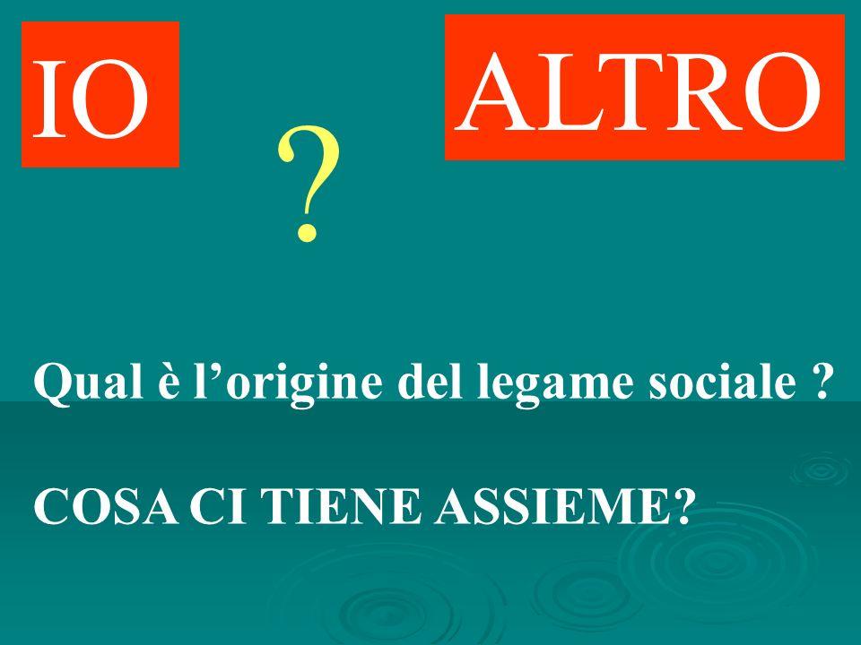 IO ALTRO ? Qual è lorigine del legame sociale ? COSA CI TIENE ASSIEME?