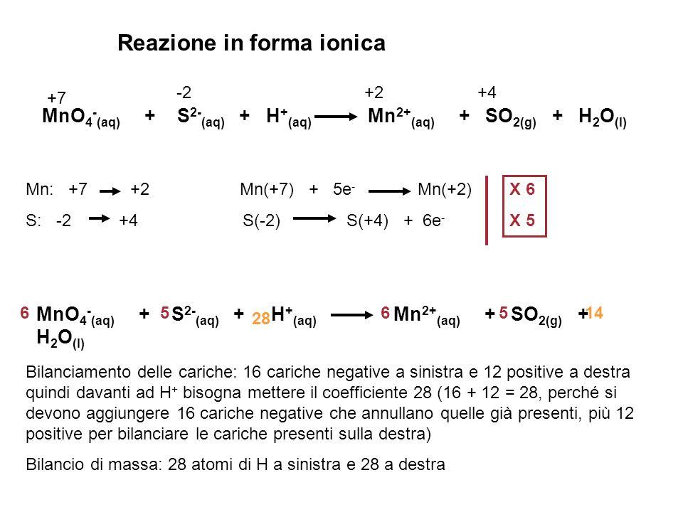 Reazione in forma ionica MnO 4 - (aq) + S 2- (aq) + H + (aq) Mn 2+ (aq) + SO 2(g) + H 2 O (l) +7 -2 +2 +4 Mn: +7 +2 Mn(+7) + 5e - Mn(+2) S: -2 +4 S(-2