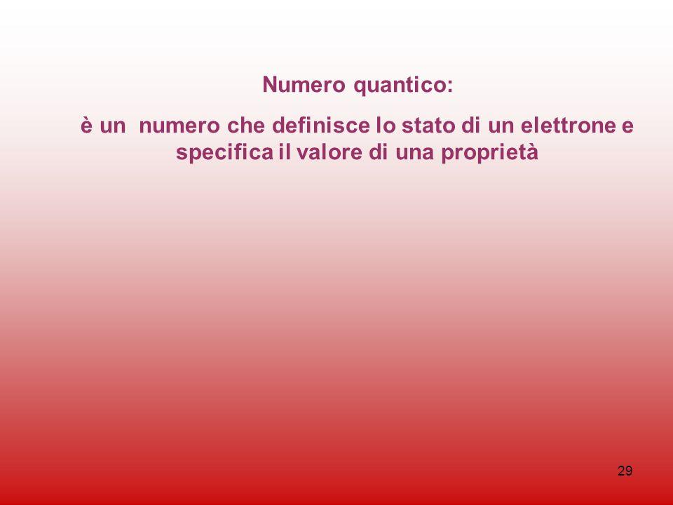 29 Numero quantico: è un numero che definisce lo stato di un elettrone e specifica il valore di una proprietà