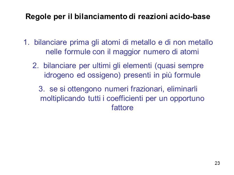 23 Regole per il bilanciamento di reazioni acido-base 1. bilanciare prima gli atomi di metallo e di non metallo nelle formule con il maggior numero di