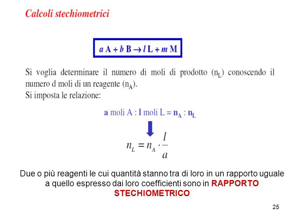 25 Due o più reagenti le cui quantità stanno tra di loro in un rapporto uguale a quello espresso dai loro coefficienti sono in RAPPORTO STECHIOMETRICO