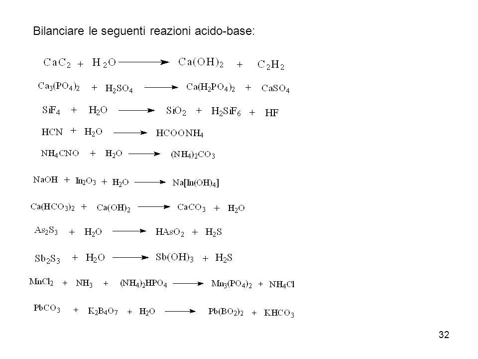32 Bilanciare le seguenti reazioni acido-base: