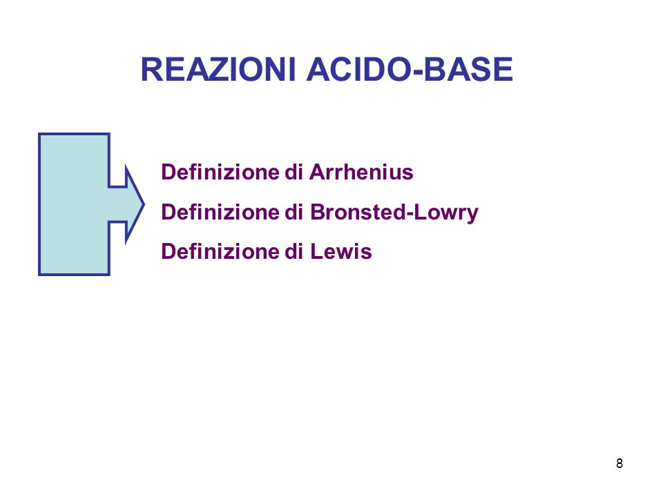 8 REAZIONI ACIDO-BASE Definizione di Arrhenius Definizione di Bronsted-Lowry Definizione di Lewis