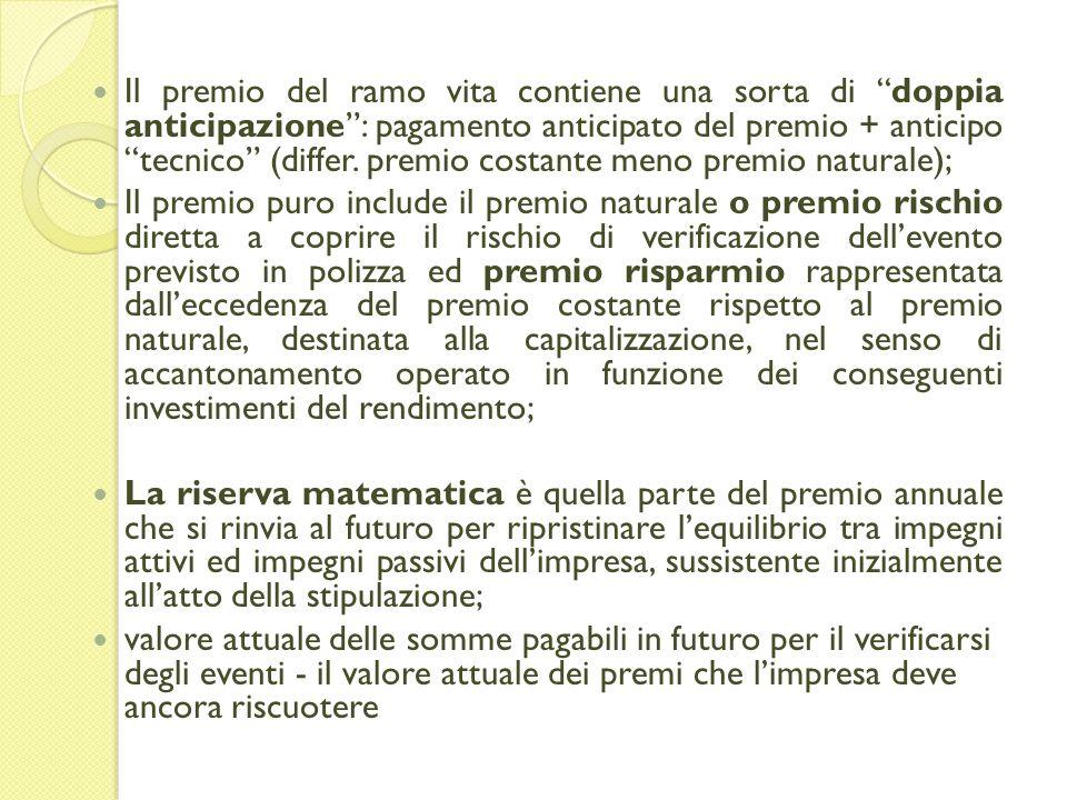 Il premio del ramo vita contiene una sorta di doppia anticipazione: pagamento anticipato del premio + anticipo tecnico (differ.