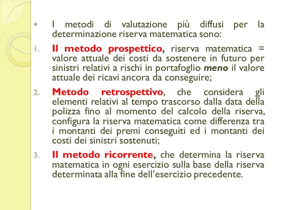 I metodi di valutazione più diffusi per la determinazione riserva matematica sono: 1.