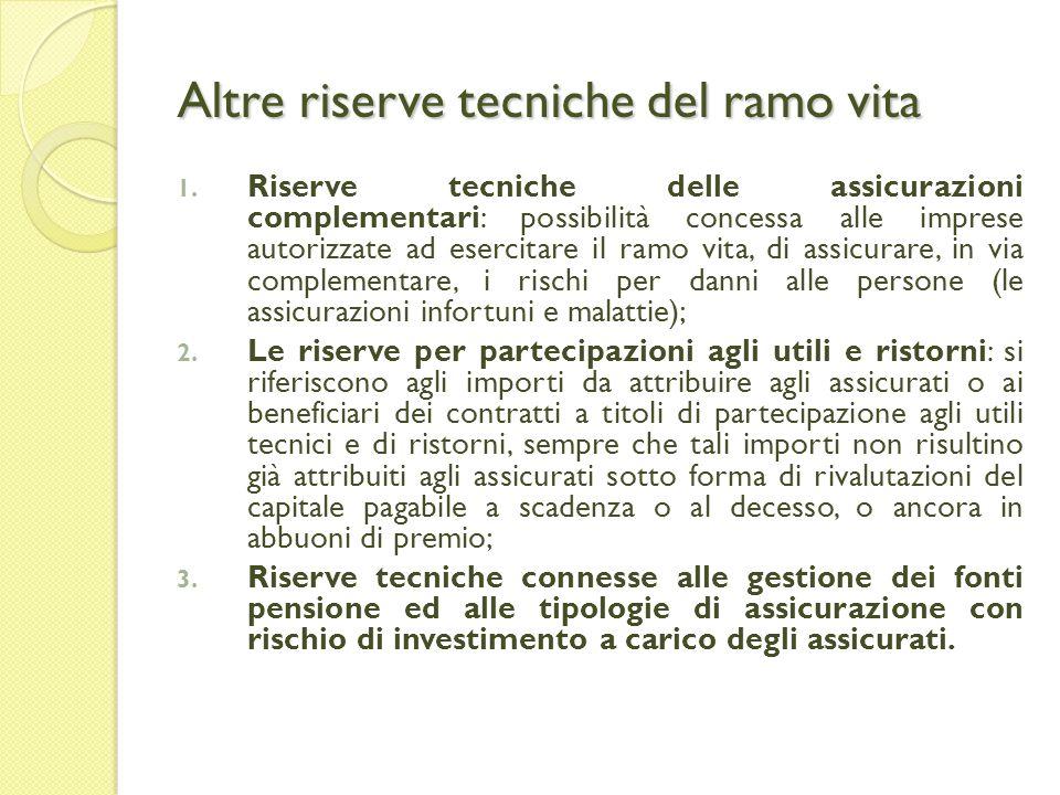 Altre riserve tecniche del ramo vita 1.