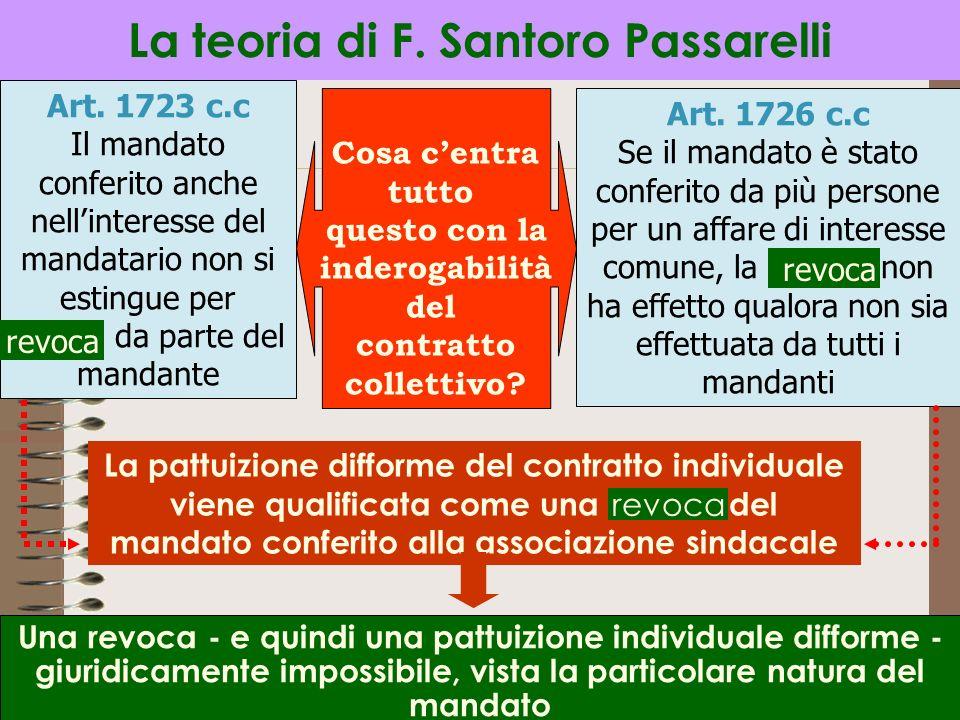 15 La teoria di F. Santoro Passarelli Art. 1723 c.c Il mandato conferito anche nellinteresse del mandatario non si estingue per revoca da parte del ma