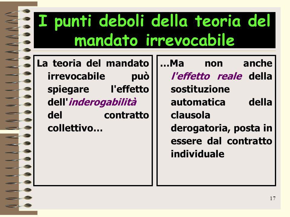 17 I punti deboli della teoria del mandato irrevocabile La teoria del mandato irrevocabile può spiegare l'effetto dell'inderogabilità del contratto co