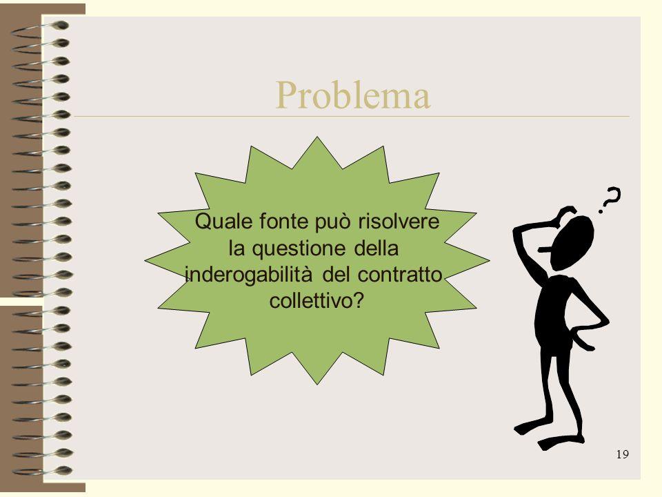 19 Problema Quale fonte può risolvere la questione della inderogabilità del contratto collettivo?