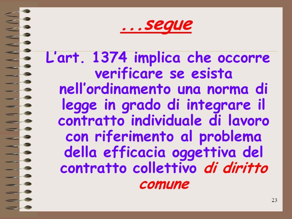 23...segue Lart. 1374 implica che occorre verificare se esista nellordinamento una norma di legge in grado di integrare il contratto individuale di la