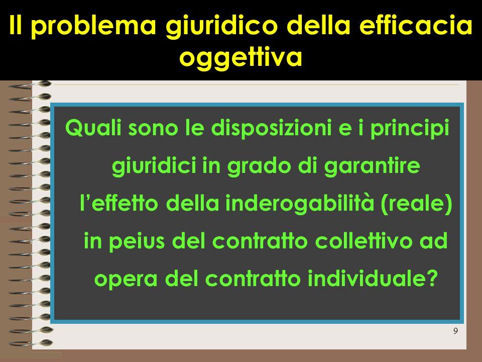 9 Il problema giuridico della efficacia oggettiva Quali sono le disposizioni e i principi giuridici in grado di garantire leffetto della inderogabilit