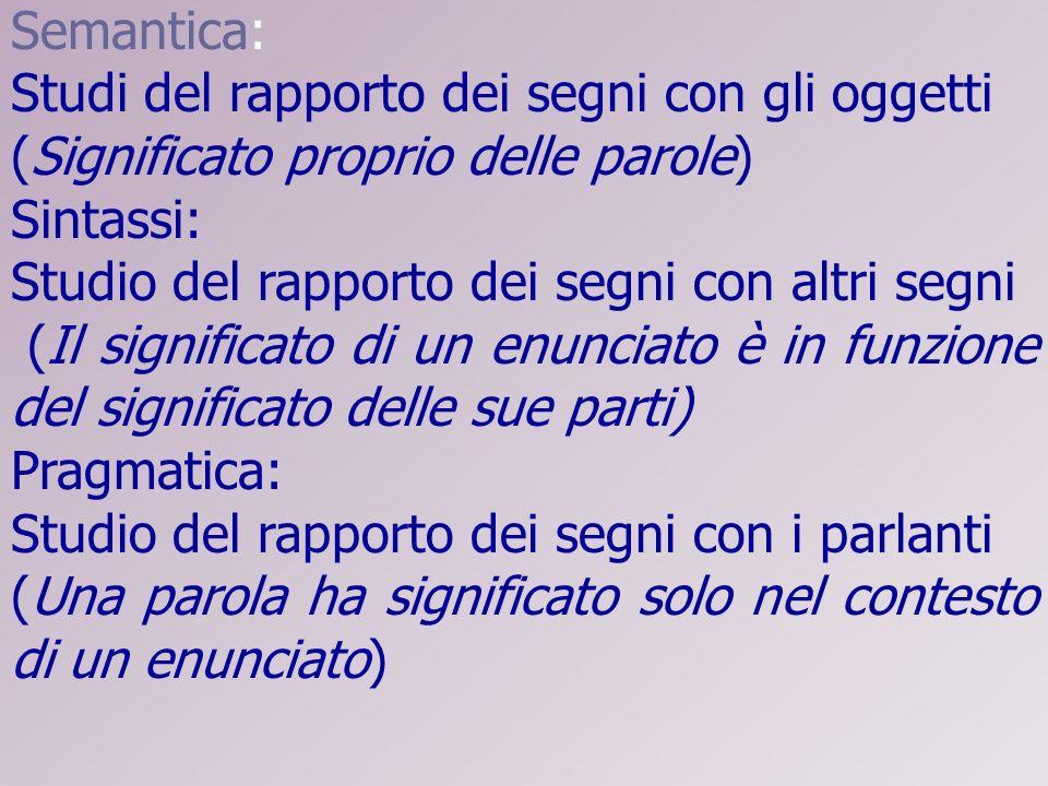 Semantica: Studi del rapporto dei segni con gli oggetti (Significato proprio delle parole) Sintassi: Studio del rapporto dei segni con altri segni (Il